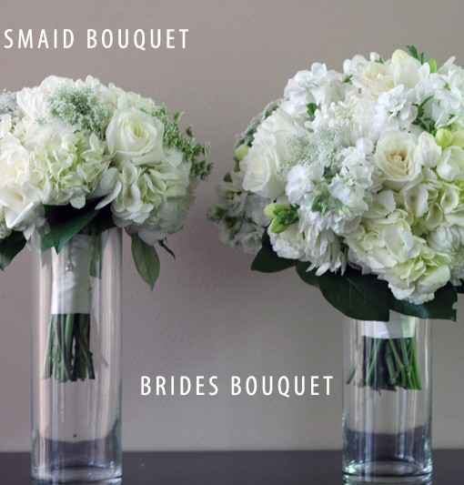 BRIDAL WHITE BRIDE + BRIDESMAID BOUQUET
