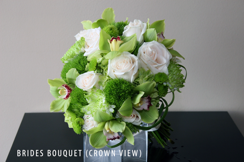 GREEN BRIDES BOUQUET CROWN VIEW