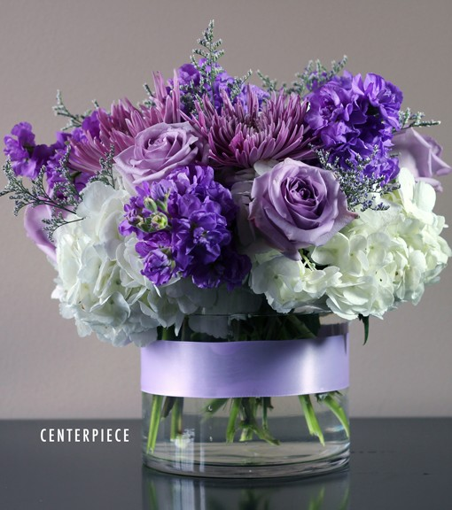 Lovely lavender centerpiece bridal flowers to go